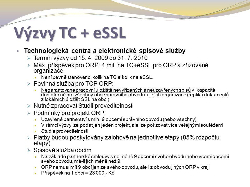 Výzvy TC + eSSL  Technologická centra a elektronické spisové služby  Termín výzvy od 15.