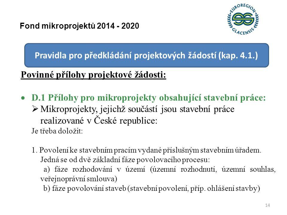 14 Fond mikroprojektů 2014 - 2020 Pravidla pro předkládání projektových žádostí (kap.