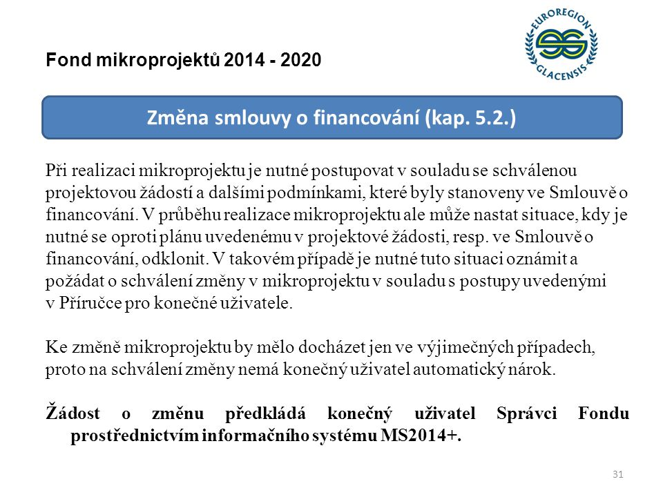 Změna smlouvy o financování (kap.