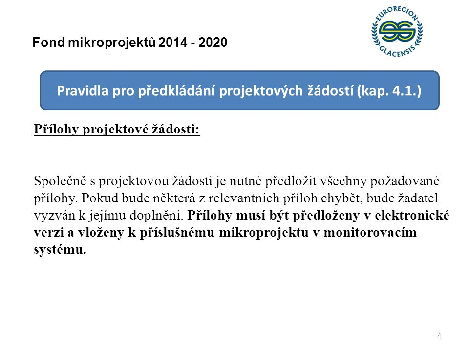 15 Fond mikroprojektů 2014 - 2020 Pravidla pro předkládání projektových žádostí (kap.