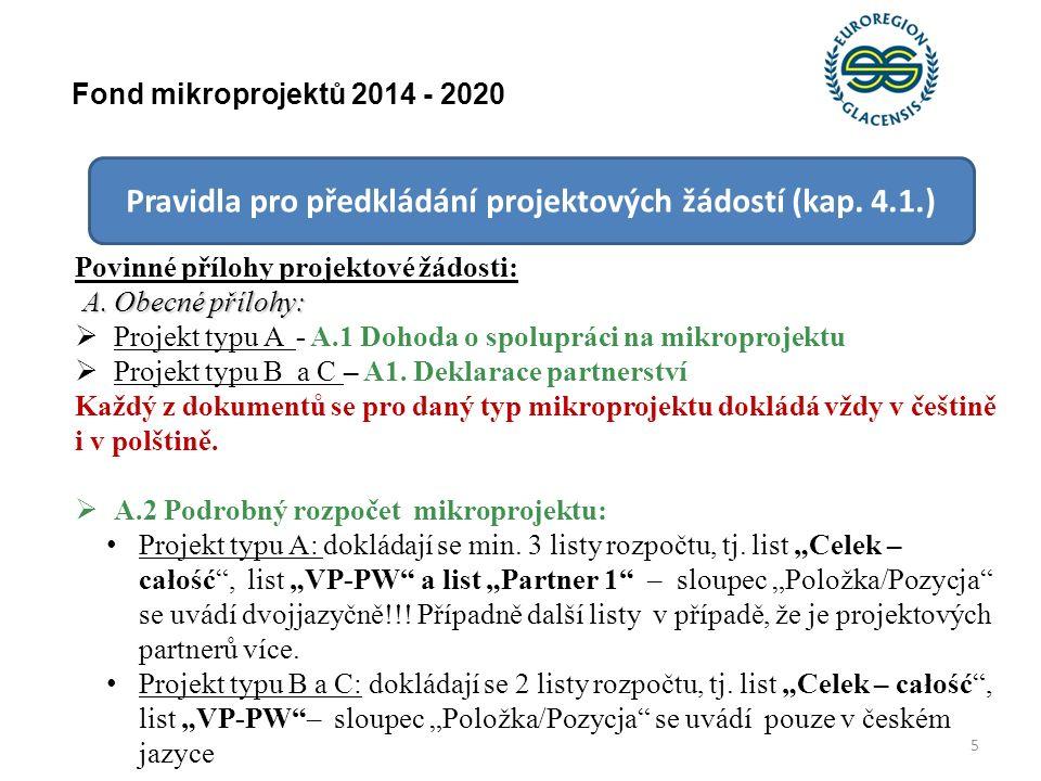 16 Fond mikroprojektů 2014 - 2020 Pravidla pro předkládání projektových žádostí (kap.