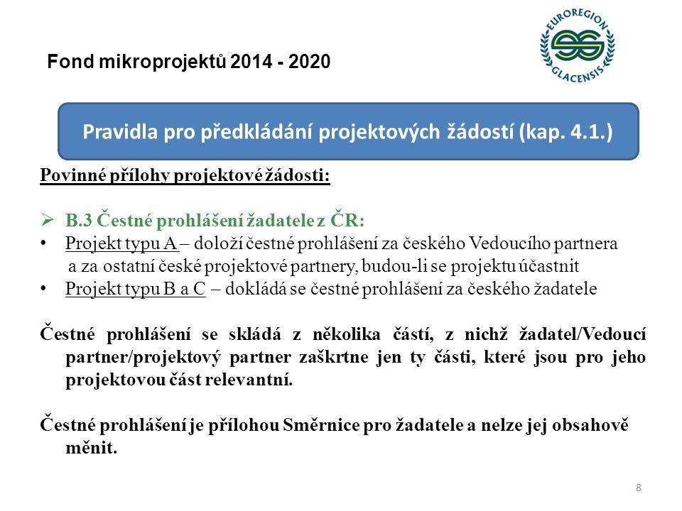 Výběr mikroprojektů (kap.
