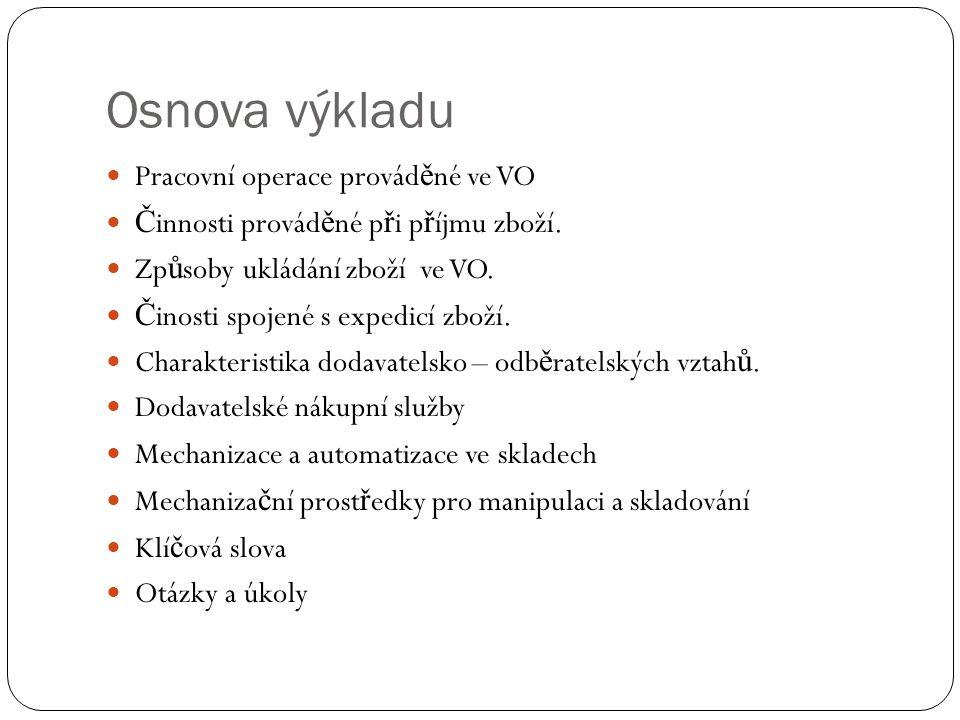 Osnova výkladu Pracovní operace provád ě né ve VO Č innosti provád ě né p ř i p ř íjmu zboží.