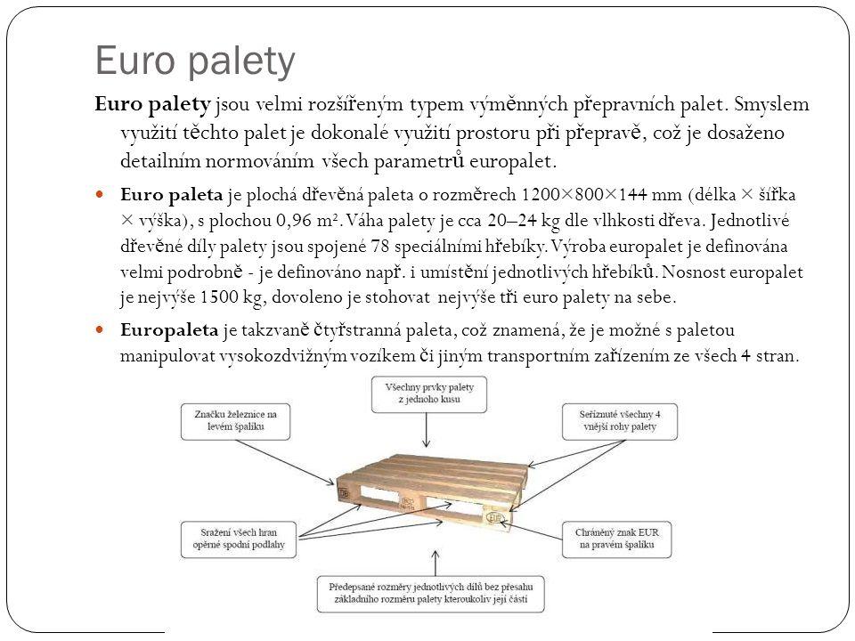 Euro palety Euro palety jsou velmi rozší ř eným typem vým ě nných p ř epravních palet. Smyslem využití t ě chto palet je dokonalé využití prostoru p ř