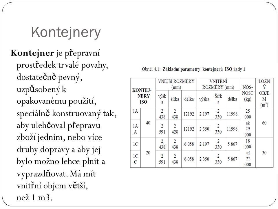 Kontejnery Kontejner je p ř epravní prost ř edek trvalé povahy, dostate č n ě pevný, uzp ů sobený k opakovanému použití, speciáln ě konstruovaný tak,