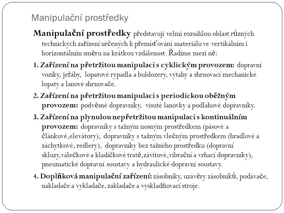 Manipulační prostředky Manipula č ní prost ř edky p ř edstavují velmi rozsáhlou oblast r ů zných technických za ř ízení ur č ených k p ř emís ť ování