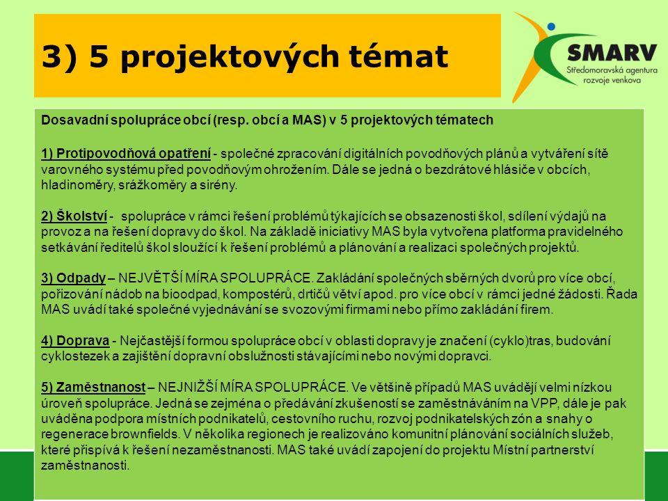 3) 5 projektových témat Dosavadní spolupráce obcí (resp. obcí a MAS) v 5 projektových tématech 1) Protipovodňová opatření - společné zpracování digitá