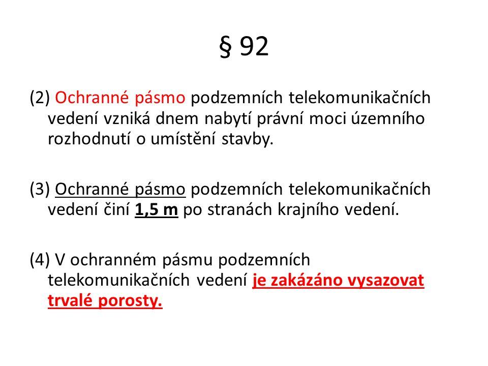 § 92 (2) Ochranné pásmo podzemních telekomunikačních vedení vzniká dnem nabytí právní moci územního rozhodnutí o umístění stavby.