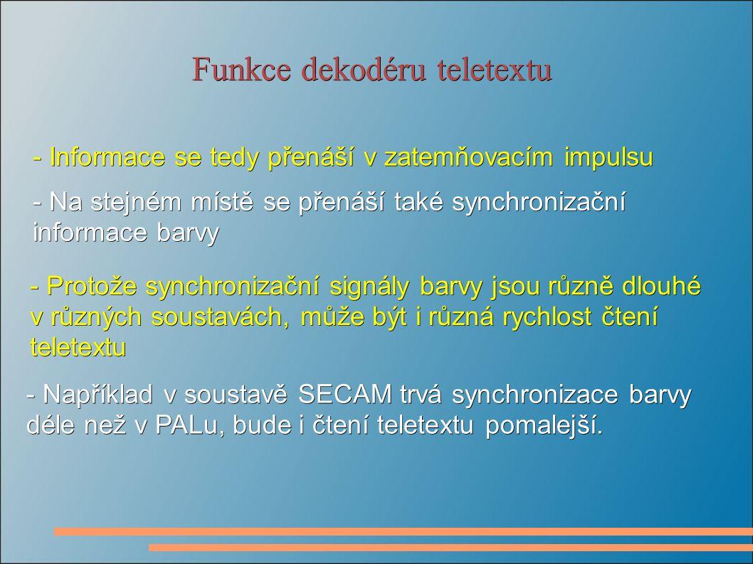 Funkce dekodéru teletextu - Informace se tedy přenáší v zatemňovacím impulsu - Na stejném místě se přenáší také synchronizační informace barvy - Protože synchronizační signály barvy jsou různě dlouhé v různých soustavách, může být i různá rychlost čtení teletextu - Například v soustavě SECAM trvá synchronizace barvy déle než v PALu, bude i čtení teletextu pomalejší.