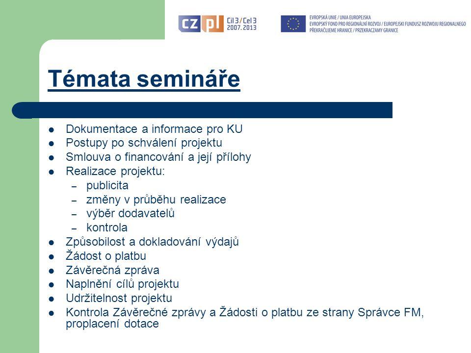 """Základní předpoklady pro úspěšné zpracování Závěrečné zprávy a ŽoP Základní předpoklady pro úspěšné zpracování Závěrečné zprávy a ŽoP: postupovat dle platné dokumentace: - Příručka pro KU (verze 4 platná od 1.6.2012) - Příručka pro zpracování ŽoP v Benefit7 - další dokumenty na www.euroregion-silesia.cz (odkaz Programy EU / Cíl 3 / Dokumentace FMP)www.euroregion-silesia.cz vycházet z projektové žádosti včetně případných podmínek stanovených EŘV, oznámených či schválených změn v průběhu realizace a smlouvy využít konzultace – při konzultaci však není možné provést """"předběžnou kontrolu předkládaných dokumentů."""