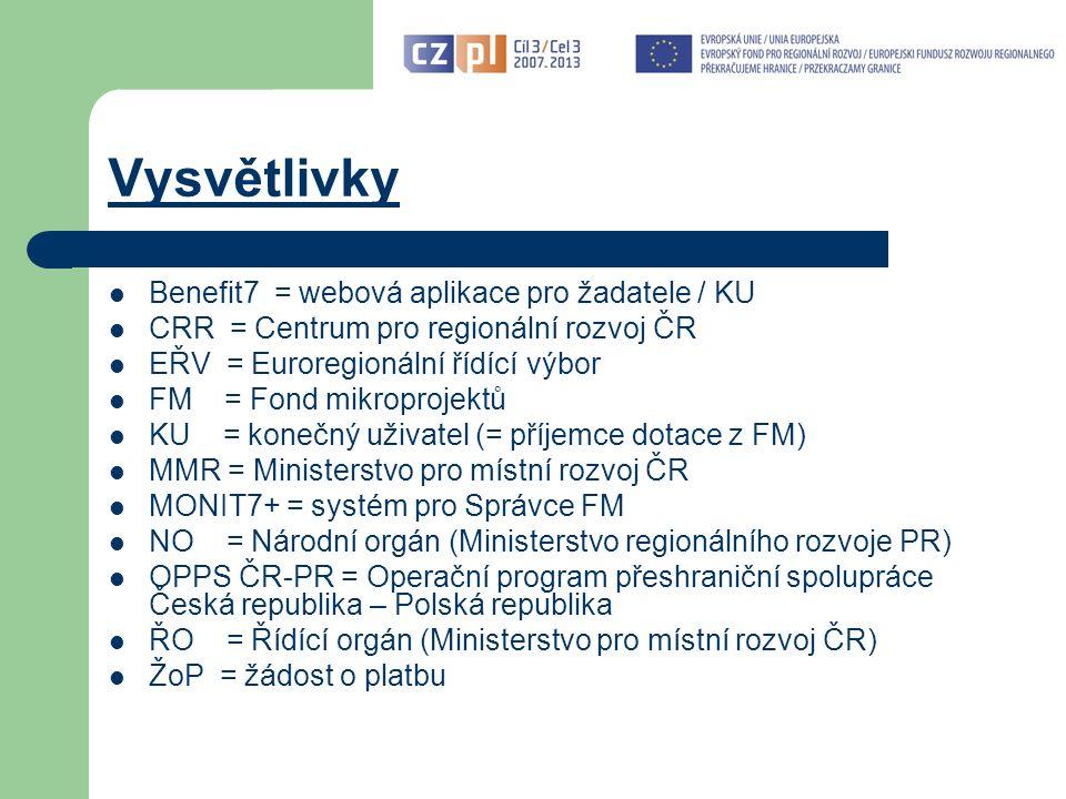 Dokumentace a informace pro KU Základní dokumentace: Příručka pro KU s přílohami – verze 3 platná do 31.5.2012 a verze 4 platná od 1.6.2012 Metodická příručka způsobilých výdajů pro programy spolufinancované ze strukturálních fondů a Fondu soudržnosti na programové období 2007-2013 (vydalo Ministerstvo pro místní rozvoj) Informace: www.euroregion-silesia.cz (zejména Novinky, Výklady, Často kladené otázky, Publicita) www.euroregion-silesia.cz e-mail: euroregion.silesia@opava-city.cz (popř.