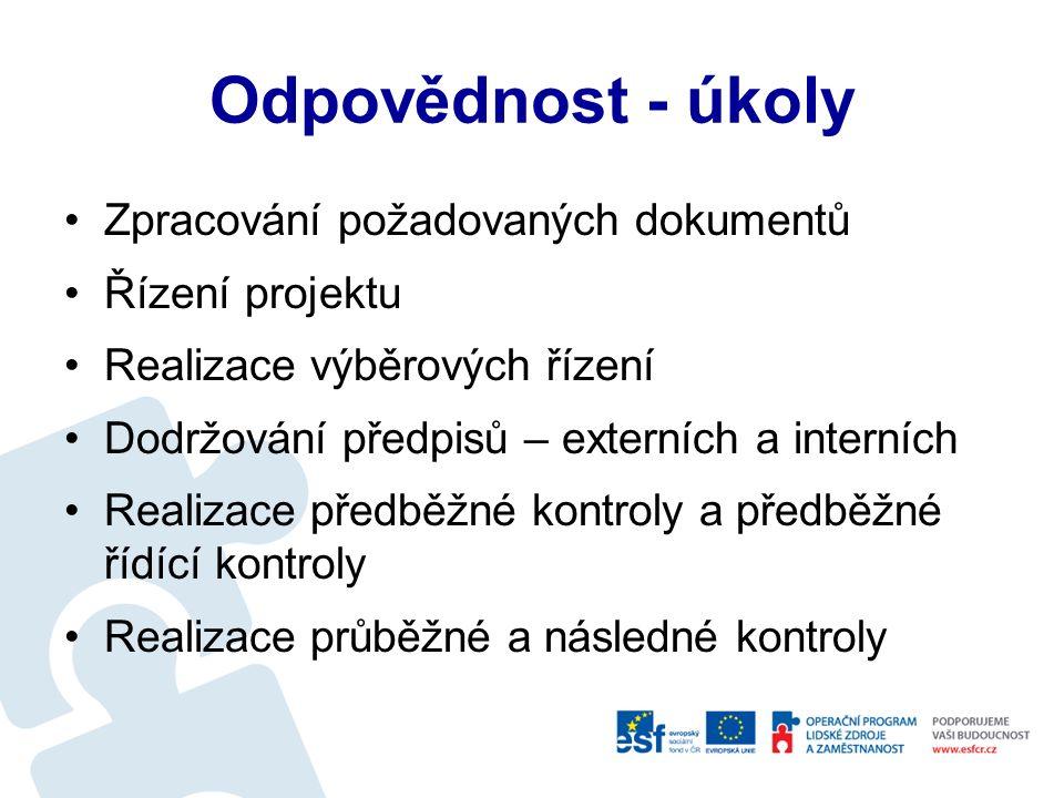Projektové procesy Příprava projektu Realizace projektu Monitorování projektu Vyhodnocení projektu Udržitelnost projektu