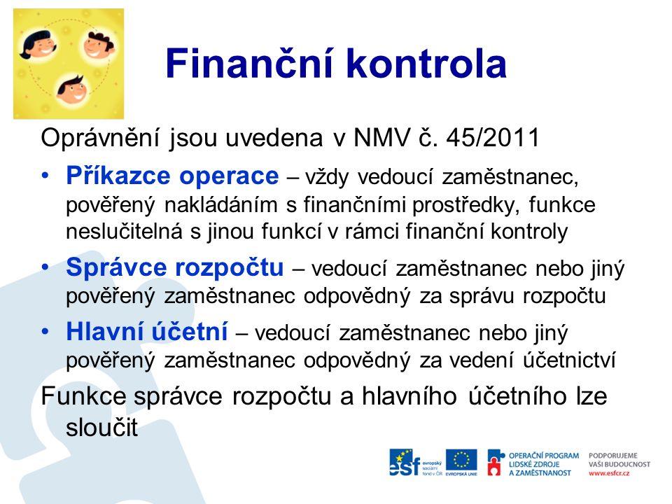 Finanční a řídící kontrola Základním úkolem je potvrzení alokace finančních prostředků a kontrola rozpisu rozpočtu