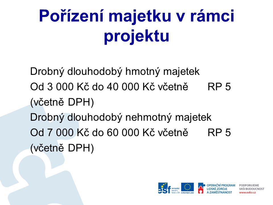 Pořízení DM Výdaje na pořízení dlouhodobého nehmotného a hmotného majetku se hradí z prostředků na pořízení dlouhodobého majetku (rozpočtové položky 6xxxxx).