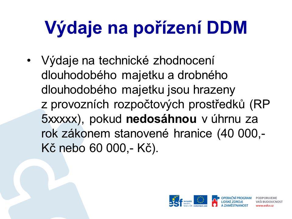 Pořízení DDM Výdaje na pořízení drobného dlouhodobého nehmotného a hmotného majetku a zásob se hradí z provozních rozpočtových prostředků (rozpočtové položky 5xxxxx).