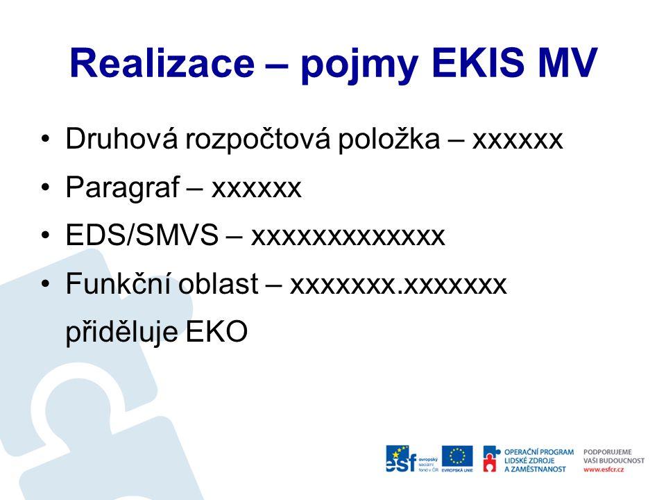Realizace Zaevidování smlouvy v EKIS MV Zavedení smlouvy EKIS.doc Doporučení - vést Registr originálních smluv Předání smlouvy ke zveřejnění dle NMV č.