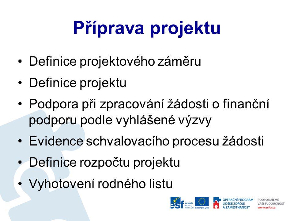 Informační systém evidence a správy projektů - SEP Podpora tvorby projektové dokumentace pro schválení EU projektu Sledování realizace Sledování finančního čerpání Podpora při zpracování monitorovacích zpráv