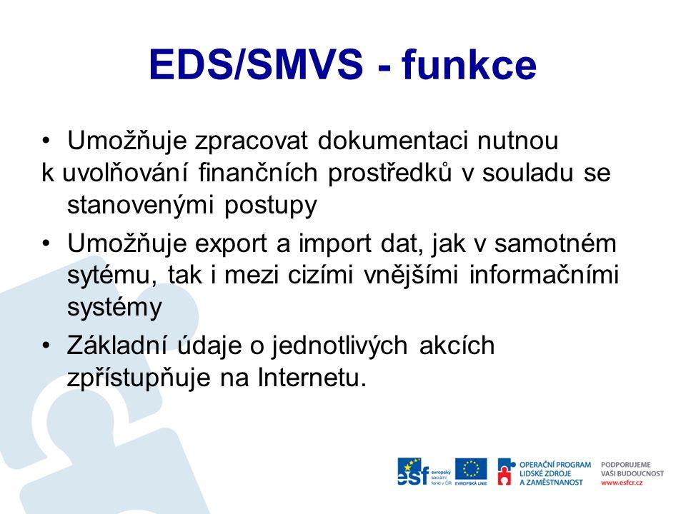 EDS/SMVS - funkce Pro každou akci umožní plánovat finanční potřeby a zdroje podle podmínek stanovených vyhláškou MF Akce je evidována, a v průběhu realizace sledována, podle hodnotových, termínových a technologických kritérií stanovených vyhláškou Systém umožňuje operativní sledování průběhu realizace akce a zpracování požadované dokladové dokumentace