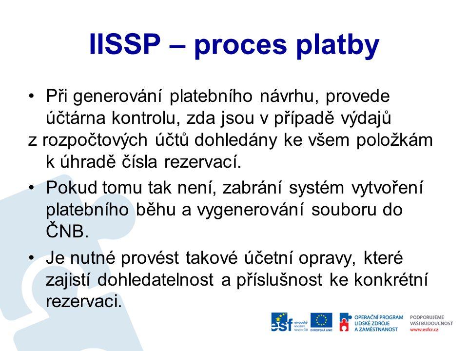IISSP – proces platby Založení rezervace v EKIS – kontrola příkazce operace, správce rozpočtu Schválení – OPF (IOP) Schválení - ekonomický odbor Administrátor IISSP – odeslání rezervace Předpis platby - kontrola proti rezervaci EKIS Platba ČNB – kontrola proti rezervaci v IISSP Úhrada