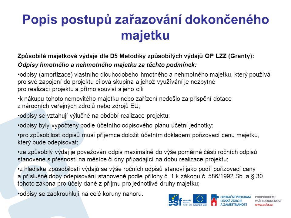 Popis postupů zařazování dokončeného majetku Způsobilé majetkové výdaje dle D5 Metodiky způsobilých výdajů OP LZZ (Granty – zařízení a vybavení nesmí přesáhnout 20% zp.