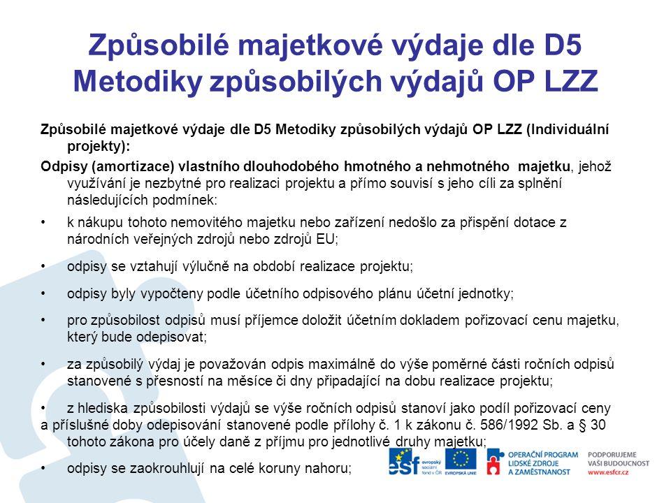 Způsobilé majetkové výdaje dle D5 Metodiky způsobilých výdajů OP LZZ Způsobilé majetkové výdaje dle D5 Metodiky způsobilých výdajů OP LZZ (Individuální projekty – zařízení a vybavení nesmí přesáhnout 20% zp.