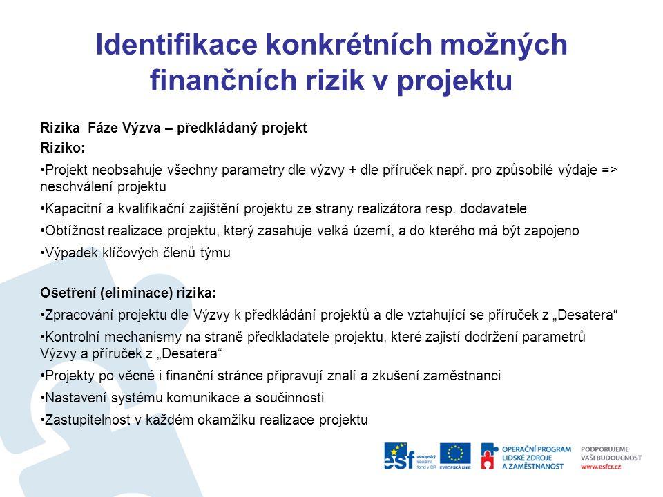Identifikace konkrétních možných finančních rizik v projektu OP LZZ = 1,42%