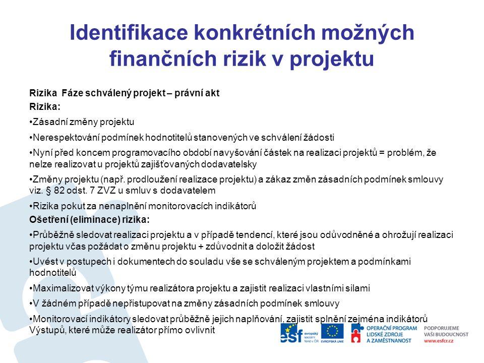 Identifikace konkrétních možných finančních rizik v projektu Rizika Fáze Výzva – předkládaný projekt Riziko: Projekt neobsahuje všechny parametry dle výzvy + dle příruček např.