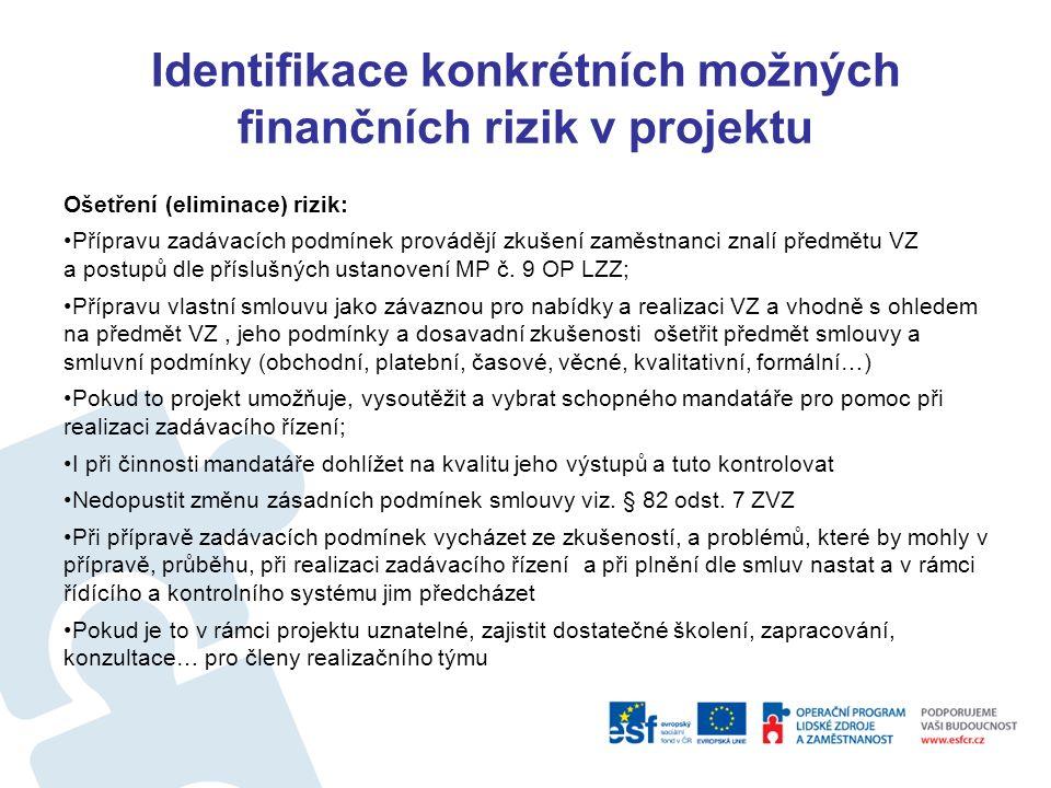 Identifikace konkrétních možných finančních rizik v projektu Rizika Fáze Realizace projektu prostřednictvím dodavatele - VZ Nesprávné a neúplné přenesení podmínek schváleného projektu jeho rozpočtu a právního aktu do zadávacích podmínek Realizátor projektu ve vyhlašovaných VZ nepředpokládá skutečnosti, které v průběhu realizace VZ mohou nastat:  Např.