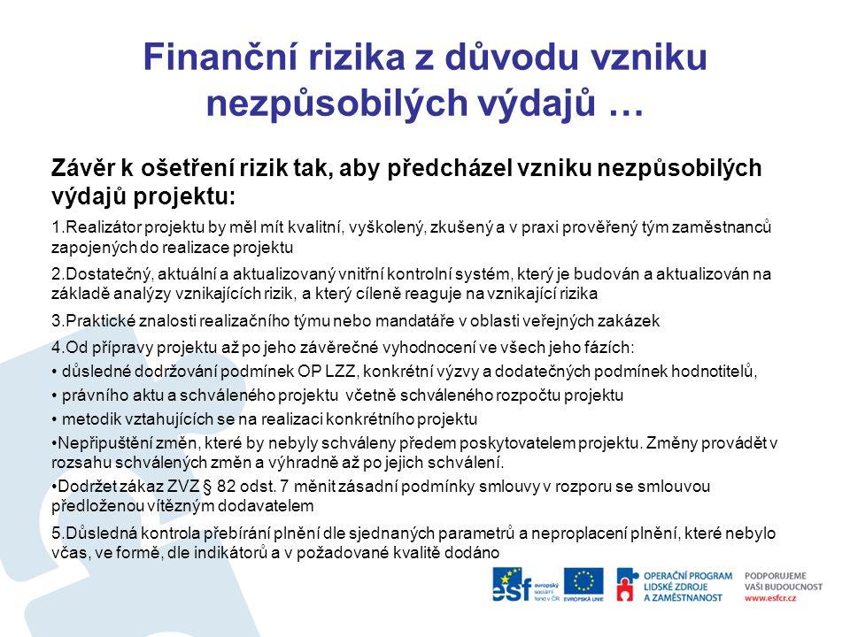 Finanční rizika z důvodu vzniku nezpůsobilých výdajů … Nesoulad schválené žádosti (část výdaje na služby a dodávka a přílohy pro kalkulace VZ a přílohy VZ v rámci projektu) a právního aktu se zadávacími podmínkami VZ Chyby v průběhu výběrových řízení: Záměrné dělení VZ týkajících se spolu souvisejících plnění pod limity stanovené ZVZ Nesprávné přístupy zadavatele - Diskriminační přístup, Porušení principu rovného zacházení, Netransparentní přístup Neúplná specifikace předmětu a podmínek VZ v rozporu s parametry schváleného projektu a podmínkami právního aktu Uzavření smlouvy, která nerespektuje parametry schváleného projektu a podmínky právního aktu Nezvládnuté výběrové řízení, které má za následek možnost spáchání správního deliktu, nebo sankce dle tabulek I a II MP OP LZZ č.