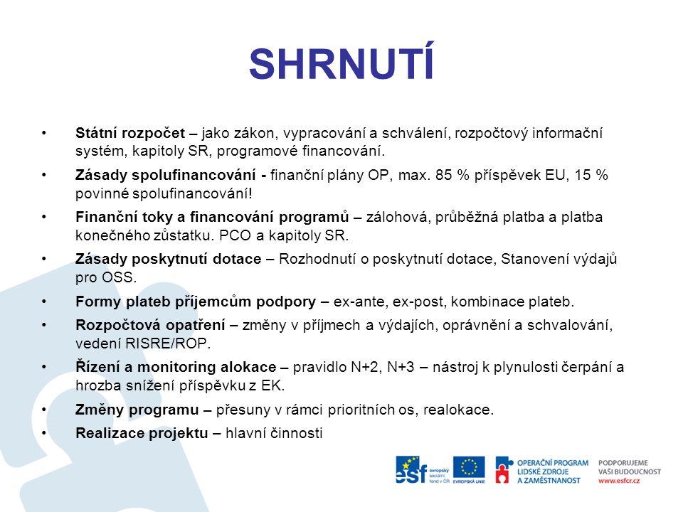 SHRNUTÍ Veřejné prostředky ˗ charakteristika a funkce (alokační, distribuční, stabilizační), ˗ jsou i dotace z EU (fondů), tj.