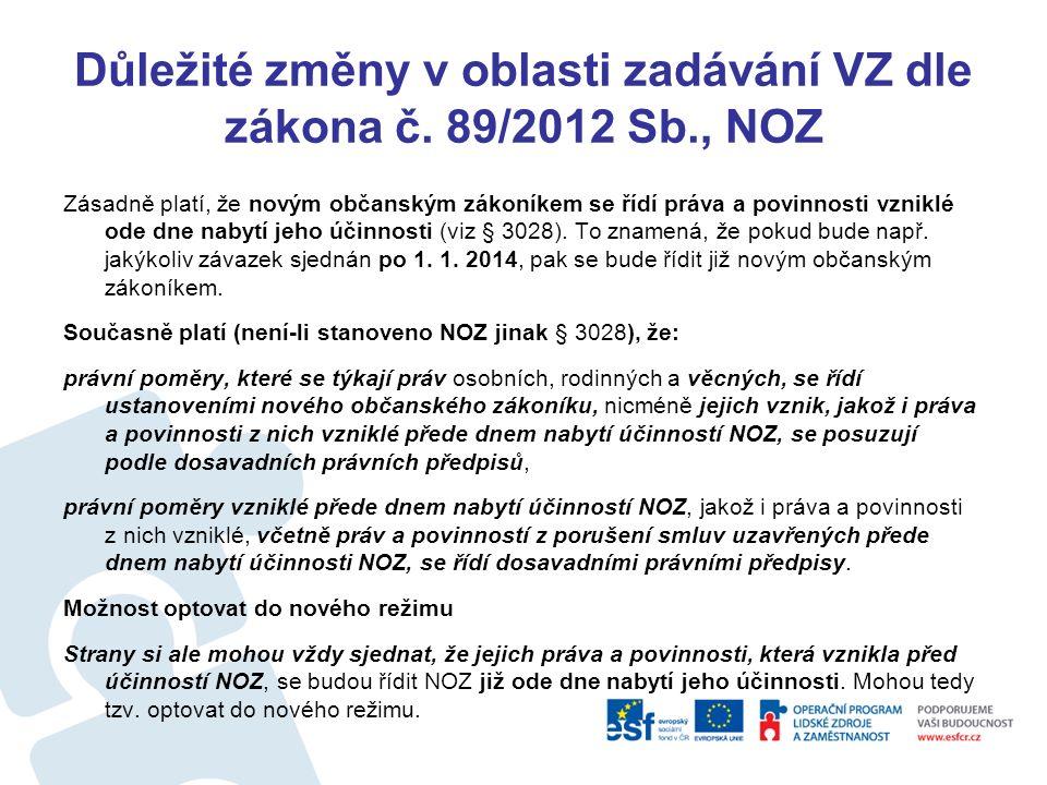 Důležité změny v oblasti zadávání VZ dle zákona č.