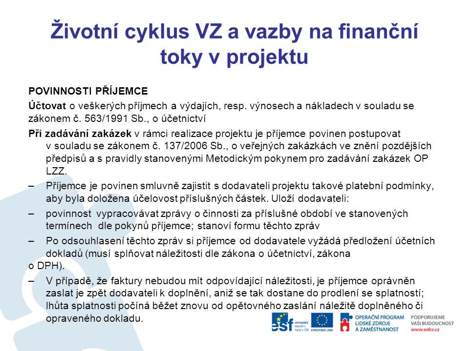 """Životní cyklus VZ a vazby na finanční toky v projektu Právní akt - Podmínky použití prostředků na realizaci projektu Na základě schválené žádosti o finanční podporu z OP LZZ ze dne …… (unikátní klíč:…) vydalo Ministerstvo …..dále jen """"poskytovatel ) tyto Podmínky použití prostředků na realizaci projektu """"……. , reg."""
