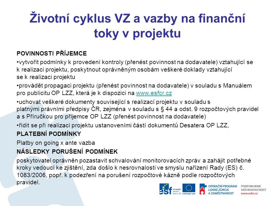 Životní cyklus VZ a vazby na finanční toky v projektu POVINNOSTI PŘÍJEMCE Účtovat o veškerých příjmech a výdajích, resp.