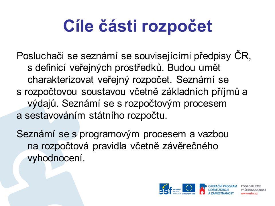 Cíle části rozpočet Posluchači se seznámí se souvisejícími předpisy ČR, s definicí veřejných prostředků.