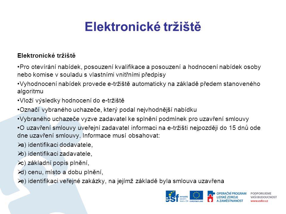 Elektronické tržiště Uzavřená výzva: zadavatel osloví výzvou nejméně 3 dodavatele, kteří podle předmětu své činnosti, uvedeného v e-tržišti, poskytují požadovaný předmět veřejné zakázky Lhůty pro podání nabídek 4 pracovní dny v případě řízení uzavřená výzva Otevřená výzva: zadavatel osloví výzvou nejméně 5 dodavatelů, kteří podle předmětu své činnosti, uvedeného v e-tržišti, poskytují požadovaný předmět veřejné zakázky.