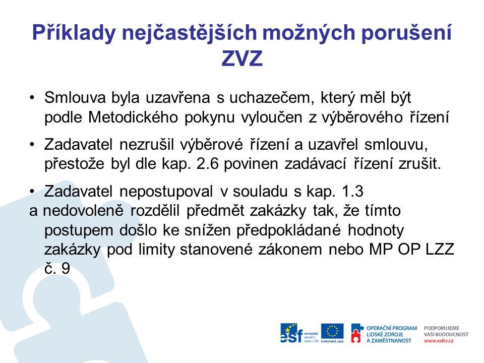 Příklady nejčastějších možných porušení ZVZ Jaké důsledky porušení pravidel VZ hrozí zadavateli dle Tabulky č.