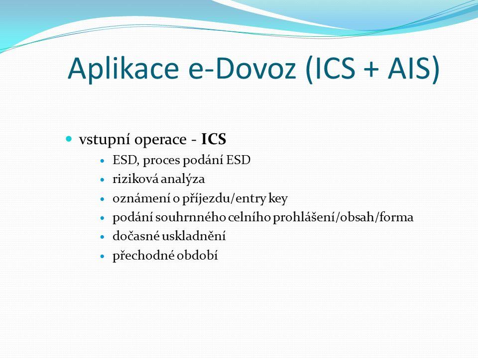 Aplikace e-Dovoz (ICS + AIS) vstupní operace - ICS ESD, proces podání ESD riziková analýza oznámení o příjezdu/entry key podání souhrnného celního prohlášení/obsah/forma dočasné uskladnění přechodné období