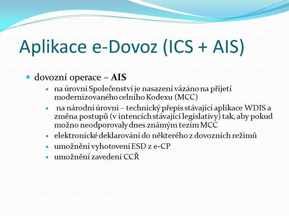 Aplikace e-Dovoz (ICS + AIS) dovozní operace – AIS na úrovni Společenství je nasazení vázáno na přijetí modernizovaného celního Kodexu (MCC) na národní úrovni – technický přepis stávající aplikace WDIS a změna postupů (v intencích stávající legislativy) tak, aby pokud možno neodporovaly dnes známým tezím MCC elektronické deklarování do některého z dovozních režimů umožnění vyhotovení ESD z e-CP umožnění zavedení CCŘ