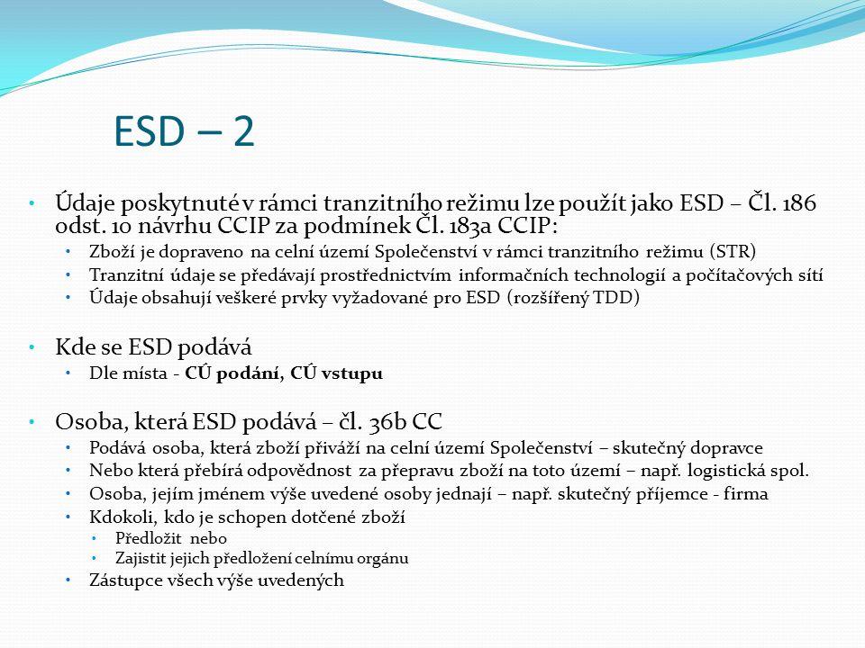 ESD – 2 Údaje poskytnuté v rámci tranzitního režimu lze použít jako ESD – Čl. 186 odst. 10 návrhu CCIP za podmínek Čl. 183a CCIP: Zboží je dopraveno n