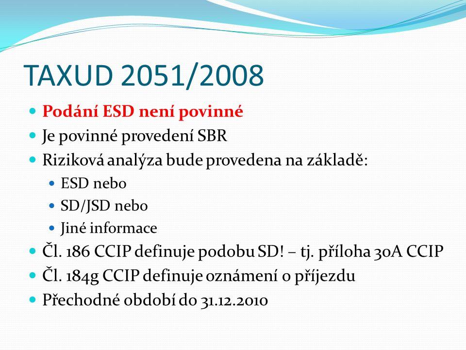 TAXUD 2051/2008 Podání ESD není povinné Je povinné provedení SBR Riziková analýza bude provedena na základě: ESD nebo SD/JSD nebo Jiné informace Čl. 1
