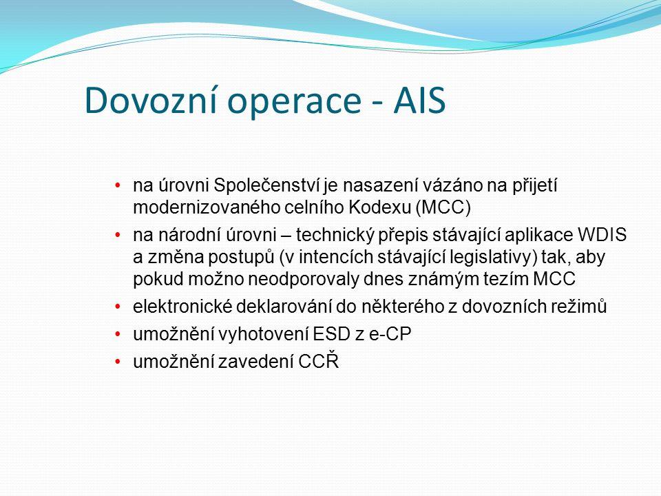 Dovozní operace - AIS na úrovni Společenství je nasazení vázáno na přijetí modernizovaného celního Kodexu (MCC) na národní úrovni – technický přepis stávající aplikace WDIS a změna postupů (v intencích stávající legislativy) tak, aby pokud možno neodporovaly dnes známým tezím MCC elektronické deklarování do některého z dovozních režimů umožnění vyhotovení ESD z e-CP umožnění zavedení CCŘ