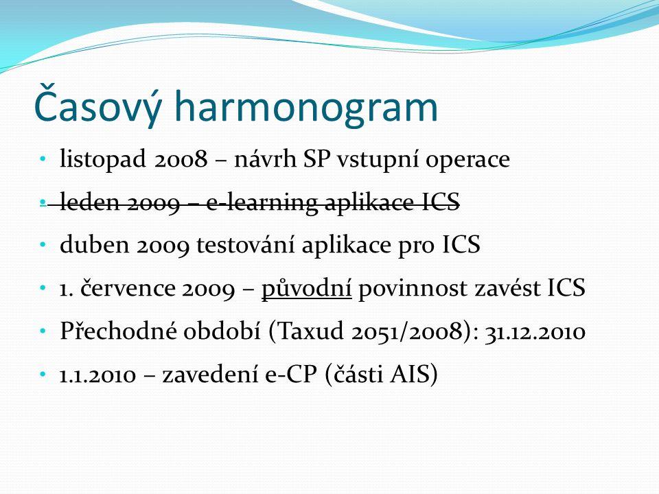 Časový harmonogram listopad 2008 – návrh SP vstupní operace leden 2009 – e-learning aplikace ICS duben 2009 testování aplikace pro ICS 1. července 200