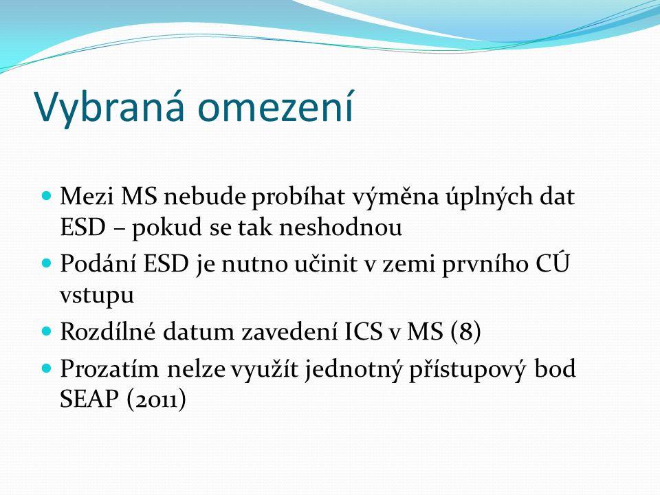 Vybraná omezení Mezi MS nebude probíhat výměna úplných dat ESD – pokud se tak neshodnou Podání ESD je nutno učinit v zemi prvního CÚ vstupu Rozdílné datum zavedení ICS v MS (8) Prozatím nelze využít jednotný přístupový bod SEAP (2011)