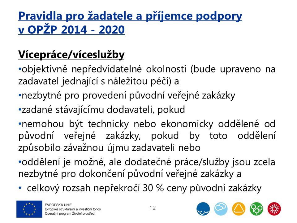 Pravidla pro žadatele a příjemce podpory v OPŽP 2014 - 2020 Vícepráce/víceslužby objektivně nepředvídatelné okolnosti (bude upraveno na zadavatel jedn