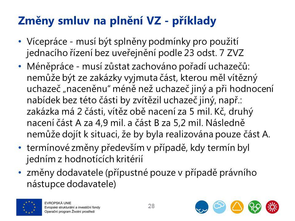 Změny smluv na plnění VZ - příklady Vícepráce - musí být splněny podmínky pro použití jednacího řízení bez uveřejnění podle 23 odst. 7 ZVZ Méněpráce -