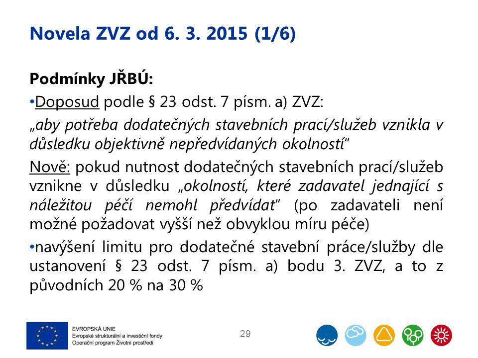 """Novela ZVZ od 6. 3. 2015 (1/6) Podmínky JŘBÚ: Doposud podle § 23 odst. 7 písm. a) ZVZ: """"aby potřeba dodatečných stavebních prací/služeb vznikla v důsl"""
