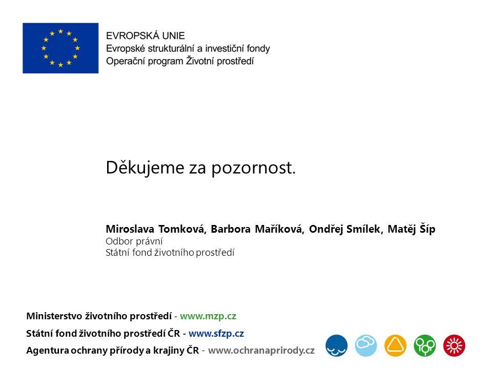 Děkujeme za pozornost. Miroslava Tomková, Barbora Maříková, Ondřej Smílek, Matěj Šíp Odbor právní Státní fond životního prostředí Ministerstvo životní