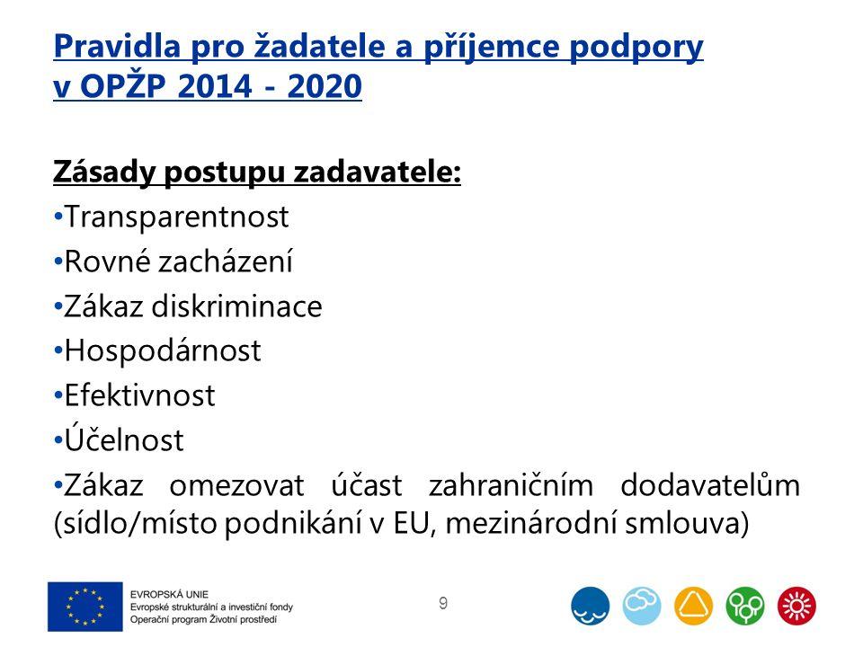 Pravidla pro žadatele a příjemce podpory v OPŽP 2014 - 2020 Zásady postupu zadavatele: Transparentnost Rovné zacházení Zákaz diskriminace Hospodárnost Efektivnost Účelnost Zákaz omezovat účast zahraničním dodavatelům (sídlo/místo podnikání v EU, mezinárodní smlouva) 9