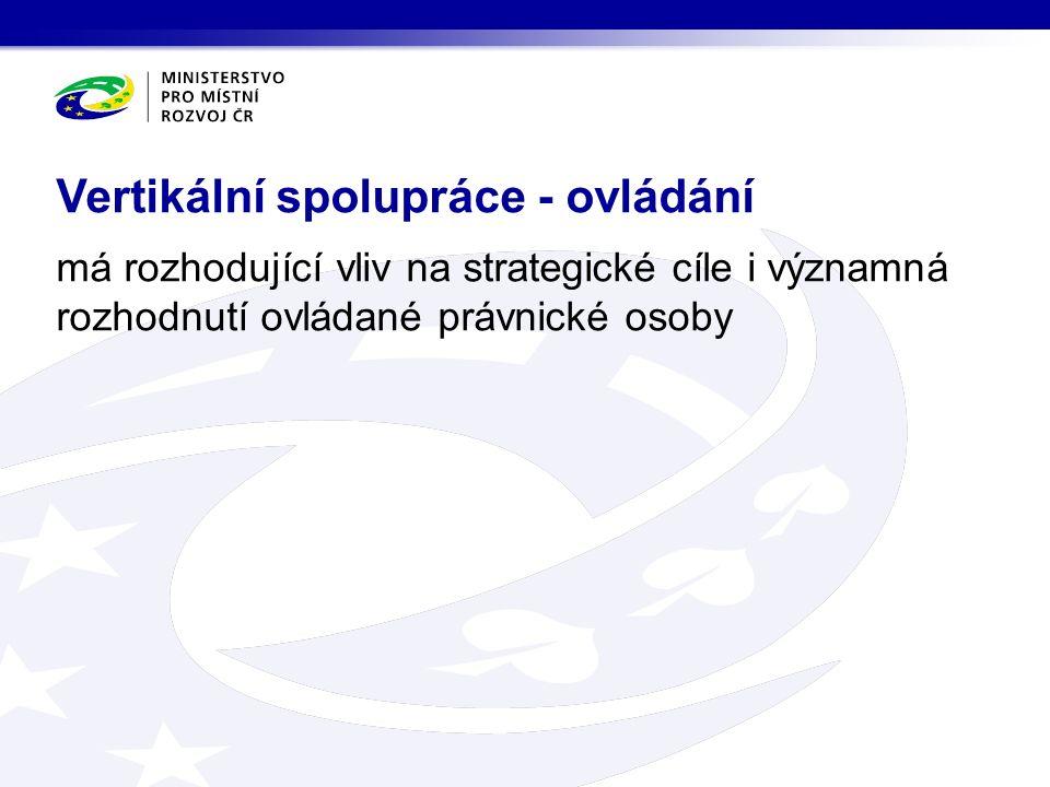 má rozhodující vliv na strategické cíle i významná rozhodnutí ovládané právnické osoby Vertikální spolupráce - ovládání