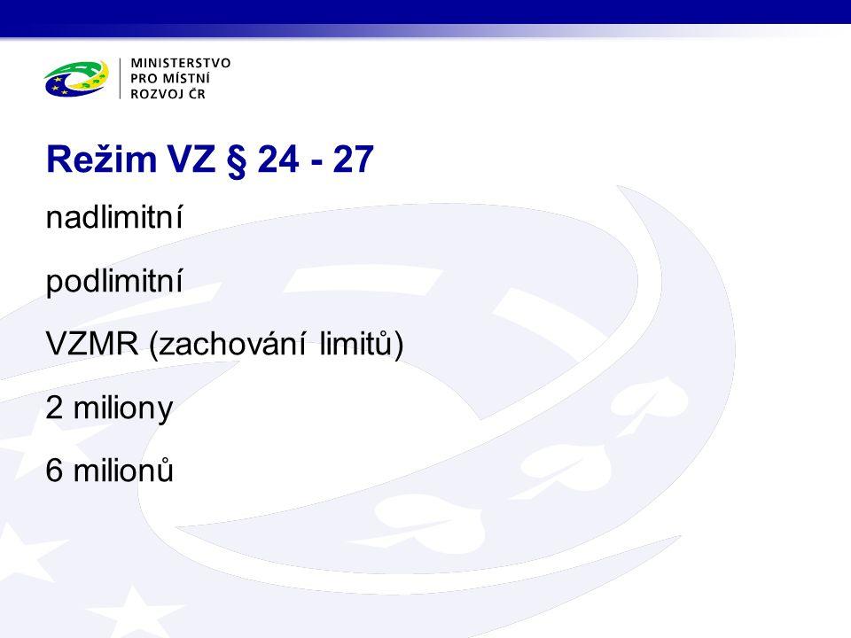 nadlimitní podlimitní VZMR (zachování limitů) 2 miliony 6 milionů Režim VZ § 24 - 27